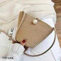 #Pearl Basket Bag   ビッグパール付 かご ミニ ポシェット ショルダーバッグ