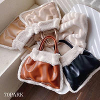 #  2way ボア フェイクレザー コンビ素材 ハンドバッグ 全4色