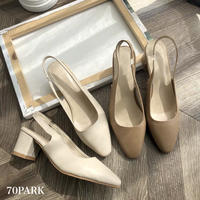 #Slingback Faux Leather Heel Shoes フェイクレザー スリングバック シューズ 全2色