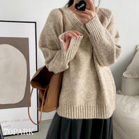 #袖スリット Vネック ルーズ ニット 全5色 セーター