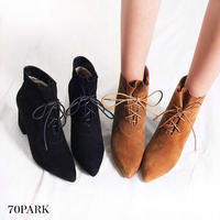 #Faux Suede Lace Up Ankle Boots  スエード調 レースアップ 太ヒール ショートブーツ 全2色