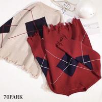 #Damage Argyle Knit Tops アーガイル 裾ダメージ ルーズ ニット 全2色