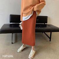 #Pleated Knit Skirt  細プリーツ ニット ミディ スカート 全4色