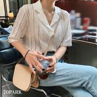 #Open Collar Lace Blouse  透かし編み レース 半袖 オープンカラー ブラウス  全3色