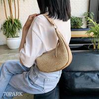 #コンビ素材 シンプル 半円 ショルダー バッグ 全2色