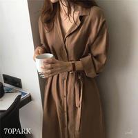 #Button-Down  Shirt Dress ルーズフィット ロング シャツ ワンピース 全2色