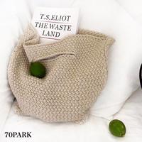 #Crochet Simple Tote Bag クロシェ 編み シンプル トートバッグ 全3色 かごバッグ