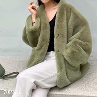 #Collarless Faux Fur Jacket ノーカラー フェイクファー ジャケット 全4色