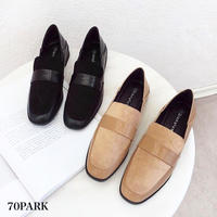 #Faux Suede Loafer   2way コンビ素材 ローヒール ローファー 全2色