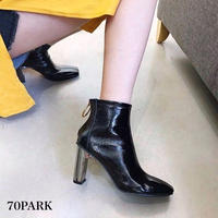 #Faux Patent‐Leather Ankle Boots エナメル サークルジップ 変形ヒール ショート ブーツ 全2色