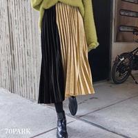 #Bi-color Velvet Pleated Skirt  バイカラー ベロア 細プリーツ ミディ丈 スカート 全4色