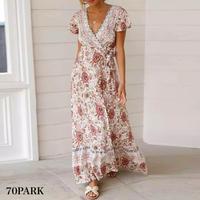 #Floral Print Wrap Dress 花柄 ロング丈 半袖 ラップ ワンピース 全4色 リゾート