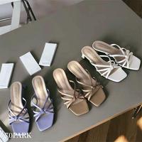 #Square Toe Strappy Sandals スクエアトゥ ストラッピー 太ヒール サンダル 全3色