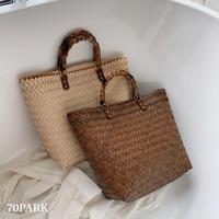 #Bamboo Handle Basket Bag バンブー風 ハンドル かご トートバッグ 全2色 かごバッグ