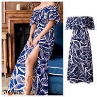 #Leaf Print Off The Shoulder Maxi Dress  リーフ柄 オフショルダー スリット入り マキシ ワンピース 青 リゾート