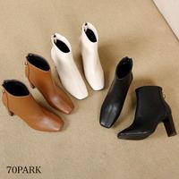 # バック リングジップ ハイヒール ショート ブーツ 全3色