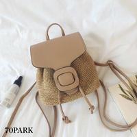 # 2way Mini Basket Backpack コンビ素材 ミニ かご バックパック ブラウン ショルダーバッグ
