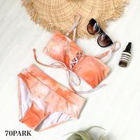 #Tie Dye Lace Up Bikini タイダイ柄 プリント レースアップ ビキニ オレンジ