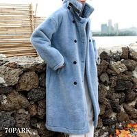 #Faux Fur Belted Long Coat  ダブルボタン ロング エコファー コート 全3色