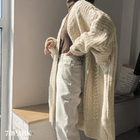 #Cable Knit Long Cardigan ケーブル編み ニット ロング カーディガン 全2色