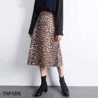 #Leopard Print skirt  レオパード柄 Aライン ミディ丈 スカート 全2色