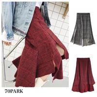 #Slit Check Skirt  チェック柄 アンバランスヘム スリット スカート 全2色