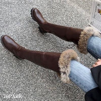 #Over The Knee Faux Fur Boots ファー付き フェイクレザー ニーハイ ブーツ 全2色