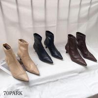 #ソフト フェイクレザー ポインテッドトゥ ショート ブーツ 全3色