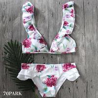 #White Floral Frill Bikini  ホワイト 花柄 ガーリー フリル  ビキニ   水着  ブラジリアン