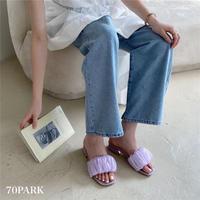 #Chiffon Detail Sandals シャーベットカラー シフォン ミュール サンダル 全3色