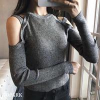 #Cut Out Shoulder Rib Knit Sweater ショルダー カットアウト 長袖 リブ ニット トップス 全4色