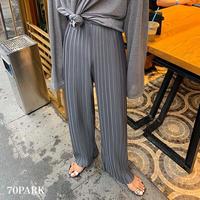 #Pleated Long Pants  細プリーツ ルーズフィット ロング パンツ 全3色