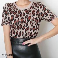 #Leopard-Print Short-Sleeve Knit Top レオパード柄 半袖 ニット トップス 全3色 豹柄