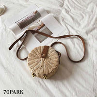 #Mini Round Basket Shoulder Bag ラウンド型 ミニ かご ショルダーバッグ サークル カゴバッグ