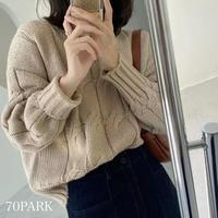 #Vネック ローゲージ ケーブル編み ニット 全6色 セーター