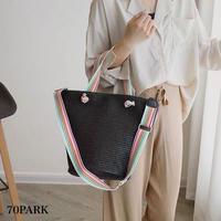 #Rainbow Strap Basket Bag   レインボー 太ストラップ かご トートバッグ  全3色