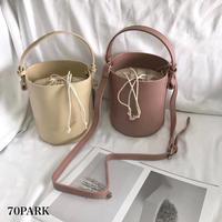 #2way Color Bucket Bag  カラー フェイクレザー シンプル バケツバッグ 全5色