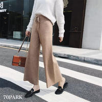 #Drawstring Waist knit Pants  厚手 ニット ストレート ロング パンツ 全4色  リブ