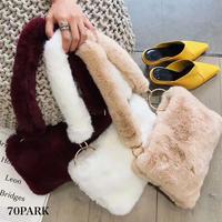 #Fur Strap Bag  ボリューム ファー ストラップ バッグ 全6色  ショルダー ファーハンドル