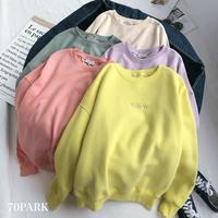 #Pastel Color Sweatshirts パステルカラー 刺繍 スウェット トップス 全5色