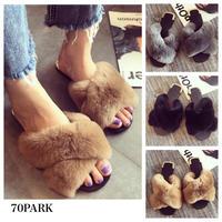 # Volume Fur Cross Front Sandals  ボリューム ファー クロス スリッパ   全3色  サンダル
