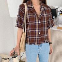 #Cropped Plaid Shirt  チェック柄 クロップド 半袖 オープンカラー シャツ  全2色