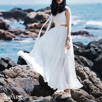 #Side Cut out Long Dress サイドカットアウト ロング ワンピース 白 リゾート