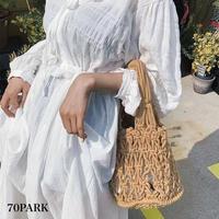 #Crochet Bucket Bag   巾着ポーチ付き クロシェ編み ハンドバッグ 全4色  ネットバッグ