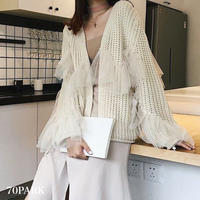 #Tulle Frill Design Knit Cardigan  チュール フリル ローゲージ ニット カーディガン 全2色