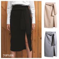 #Waist  Bow  Pencil Skirt  ウエストリボン スリット入り ペンシル スカート 全3色