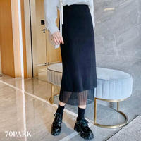 #Reversible Ribbed Knit Skirt  リバーシブル リブ ニット 細プリーツ スカート 全3色