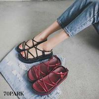 #Lace Up Platform Sandals クロス 細ストラップ プラットフォーム サンダル 全2色