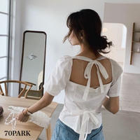 #Back Tie Blouse  バックリボン 半袖 ガーリー ブラウス  全3色