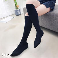 #Knit Sock Long Boots  ポインテッドトゥ ロング ニット ソックス ブーツ 全2色 フラット